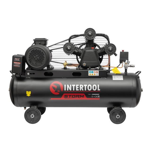 Компресор 100 л, 5 HP, 4 кВт, 380 В, 8 атм, 600 л/хв. 3 циліндра INTERTOOL PT-0036