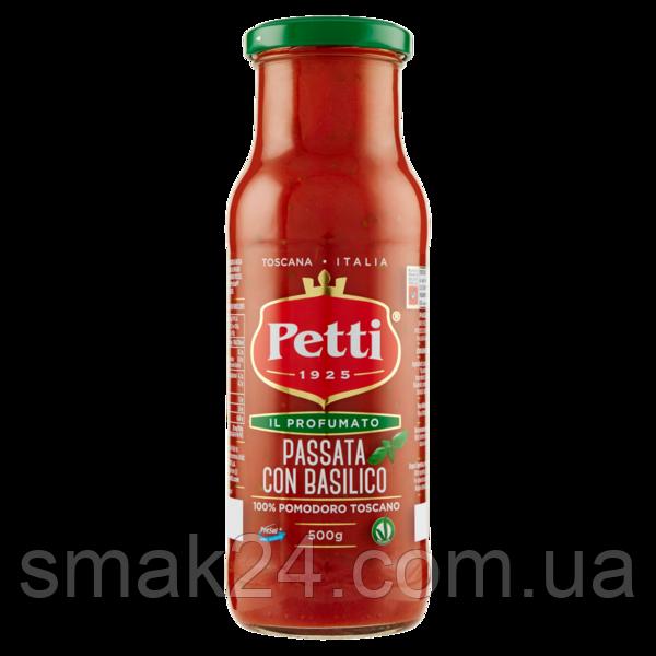 Томатное пюре с базиликом Petti Passata di pomodoro con basilico 100% pomidorowy Toscano 500г Италия