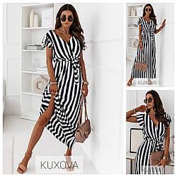 Р 42-56 довге Літнє плаття-халат в смужку 24115