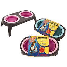 Миска подвійна на складаний підставці для собак і кішок Pet Bowl Set
