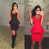 Элегантное трикотажное платье с баской, черное и красное