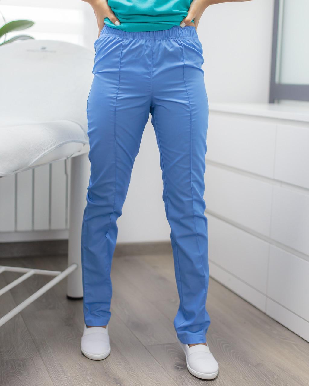 Медицинские женские брюки голубые
