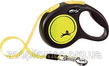 Поводок-рулетка для собак Flexi New Neon (Флекси Неон) трос S (5м до 12кг) жовтий