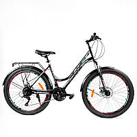 Спортивный велосипед 26 дюймов (21 скорость, сборка 75%) Corso Urban 97011 Черно-бирюзовый