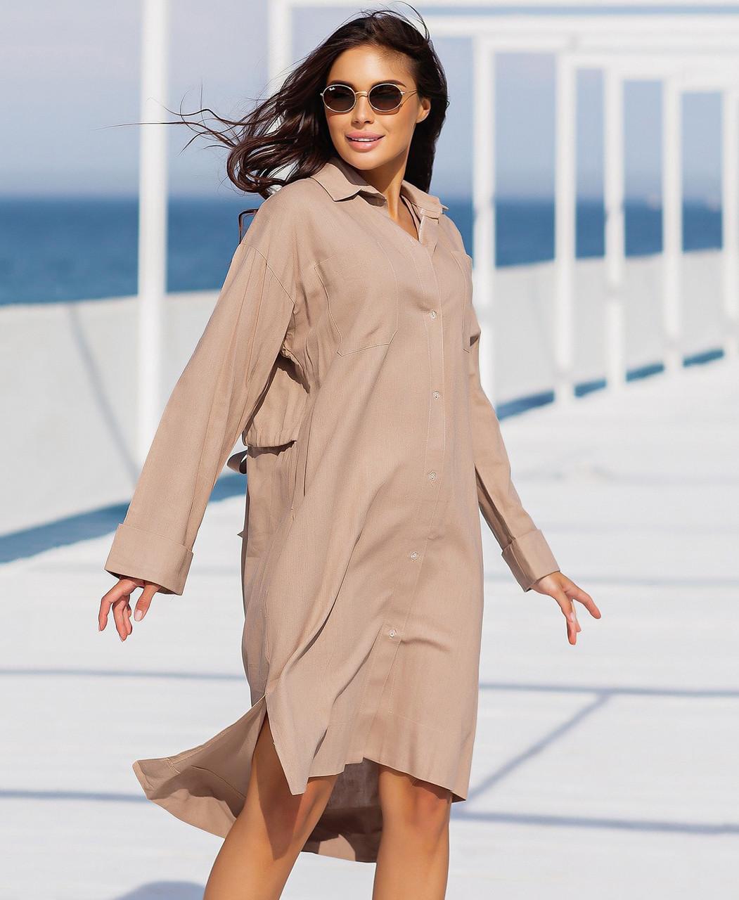 Свободное женское платье-рубашка из льна