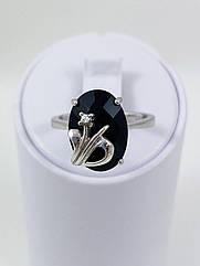 Каблучка срібна з оніксом R-526-он