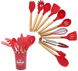Кухонный набор Silikone Kitchen Set красный из силикона с бамбуковой ручкой из 12 предметов