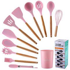 Кухонный набор Silikone Kitchen Set розовый из силикона с бамбуковой ручкой из 12 предметов