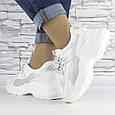 Кроссовки женские белые с серой вставкой эко кожа (b-509), фото 4