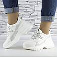 Кроссовки женские белые с серой вставкой эко кожа (b-509), фото 3
