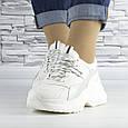 Кроссовки женские белые с серой вставкой эко кожа (b-509), фото 5