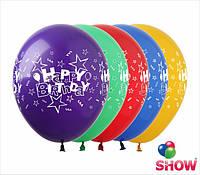 """Воздушные шары Happy Birthday круговая шелкография 12"""" (30 см)  ТМ Show"""