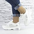 Кросівки жіночі білі зі стразами еко шкіра (b-510), фото 2