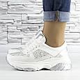 Кросівки жіночі білі зі стразами еко шкіра (b-510), фото 3