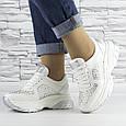 Кросівки жіночі білі зі стразами еко шкіра (b-510), фото 6