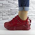 Кросівки жіночі червоні на шнурках і високій підошві комбіновані (b-511), фото 4
