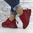 Кросівки жіночі червоні на шнурках і високій підошві комбіновані (b-511), фото 5