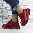 Кросівки жіночі червоні на шнурках і високій підошві комбіновані (b-511), фото 2