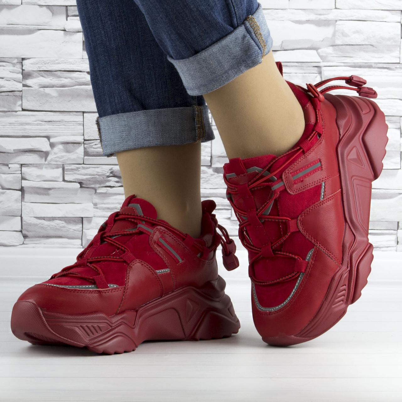 Кросівки жіночі червоні на шнурках і високій підошві комбіновані (b-511)