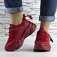 Кросівки жіночі червоні на шнурках і високій підошві комбіновані (b-511), фото 7