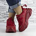 Кросівки жіночі червоні на шнурках і високій підошві комбіновані (b-511), фото 3