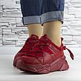 Кросівки жіночі червоні на шнурках і високій підошві комбіновані (b-511), фото 6