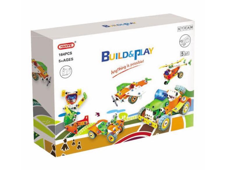 Конструктор Build&Play 5 в 1 Транспорт 164 ел. (J-7741)