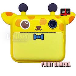 Дитячий цифровий фотоапарат Моментальної друку Giraffe Оригінал c Селфи + microSD 16Gb
