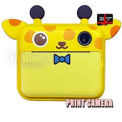 Дитячий цифровий фотоапарат Моментальної друку Giraffe Оригінал c Селфи + microSD 32Gb