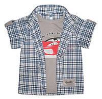 Сорочка-обманка на кнопках, короткий рукав, рост 122 см, фото 1