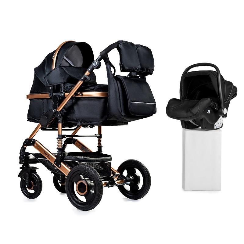 Дитяча універсальна коляска 3в1 трансформер Ninos Freelander Black + автокрісло