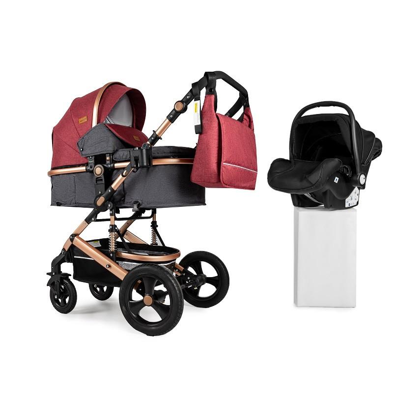 Детская коляска трансформер 3в1 Ninos Brava New RED + автокресло 0-1