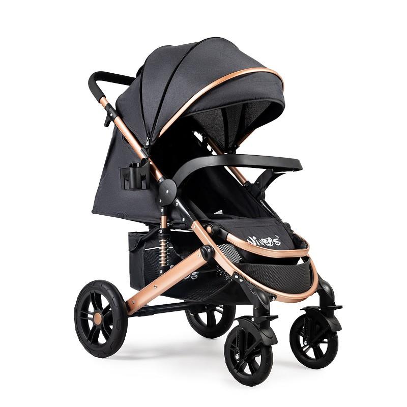 Детская прогулочная коляска Ninos Uno Black / Gold + бесплатная доставка