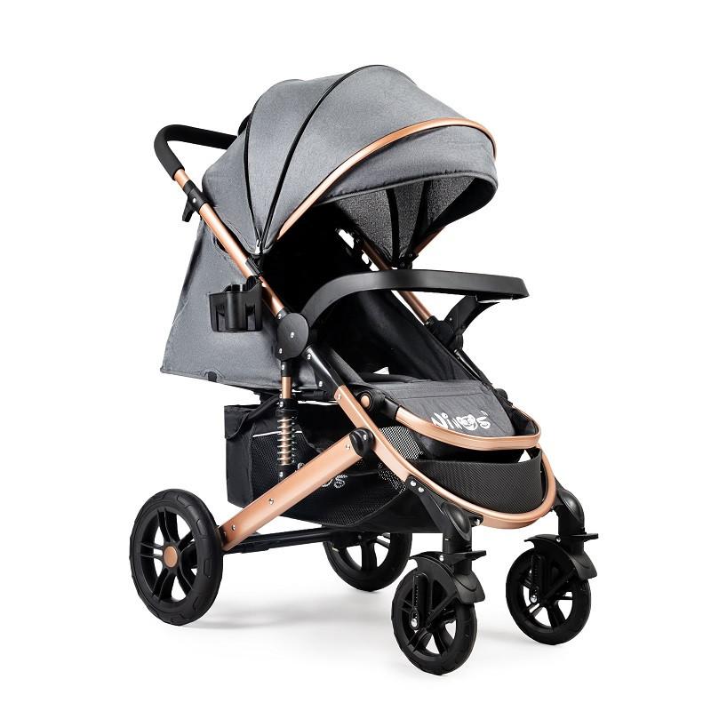 Детская прогулочная коляска Ninos Uno Dark Grey / Gold