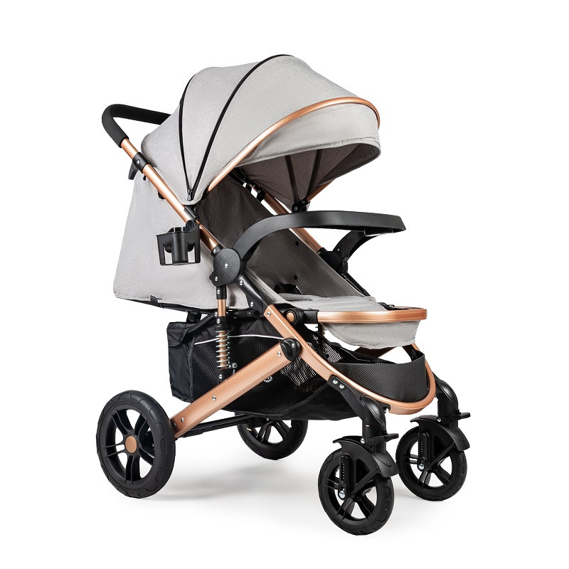 Детская прогулочная коляска Ninos Uno Light Grey / Gold