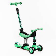 Дитячий Самокат-велобег 5в1 триколісний Best Scooter зелений колір