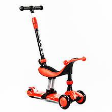 Дитячий Самокат-велобег 5в1 триколісний Best Scooter червоний колір
