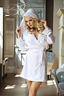 Красивый белый халат с кружевными вставками Excellent beauty N-703