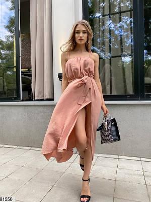Платье макси из американского жатого крепа