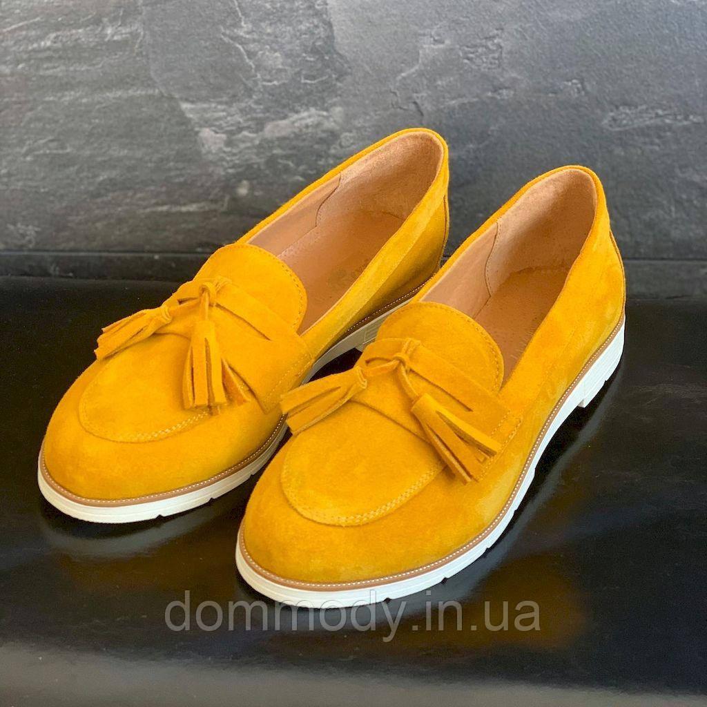 Туфлі жіночі замшеві гірчичного кольору