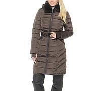 Пальто женское с мехом кролика био-пух snowimage v511 коричневый XXL