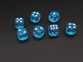 Кістки гральні. Колір блакитний. 14мм