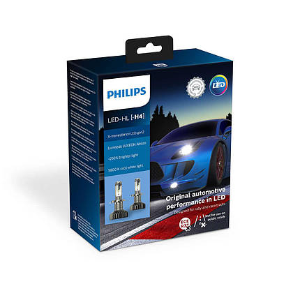 Комплект діодних ламп PHILIPS 11342XUWX2 H4 Ultion +250% 5800K, фото 2