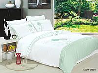 Комплект постельного белья евро Le Vele, Luzan-Green , сатин вышивка