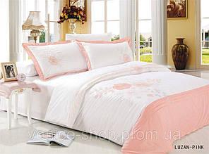 Комплект постельного белья евро Le Vele, Luzan-Pink , сатин вышивка