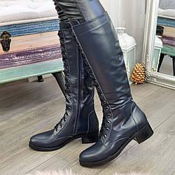 Сапоги кожаные женские высокие на шнуровке. Цвет синий