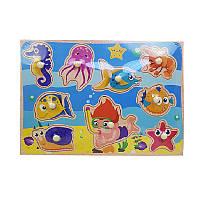 """Дерев'яна іграшка - пазл """"Морські жителі і аквалангіст"""" С 39073"""