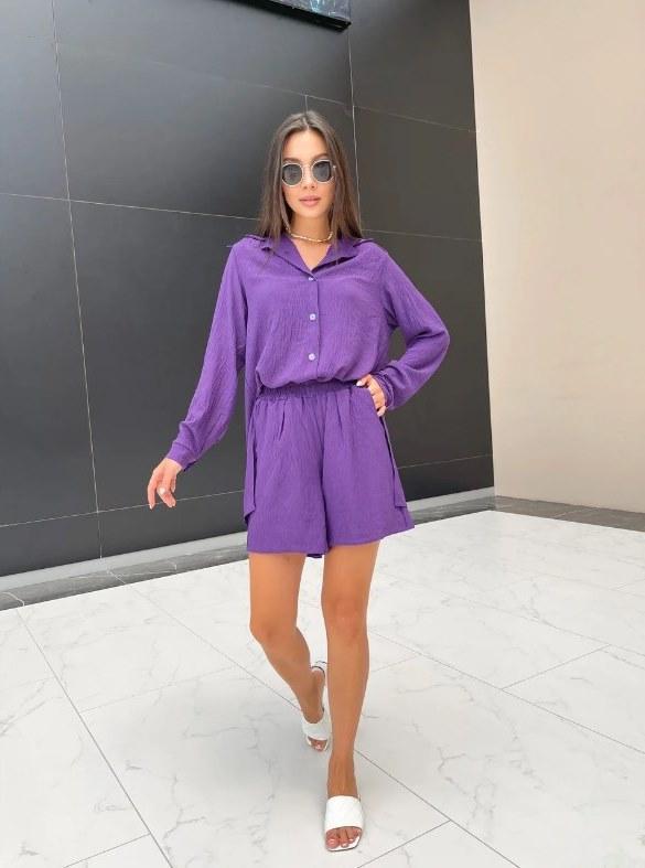 Летний костюм креп-жатка женский фиолетовый