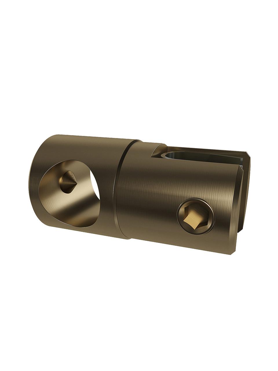 ODF-09-26-30 Кріплення душової штанги 16 мм для скла накидное, регульоване, наскрізне, колір матова бронза