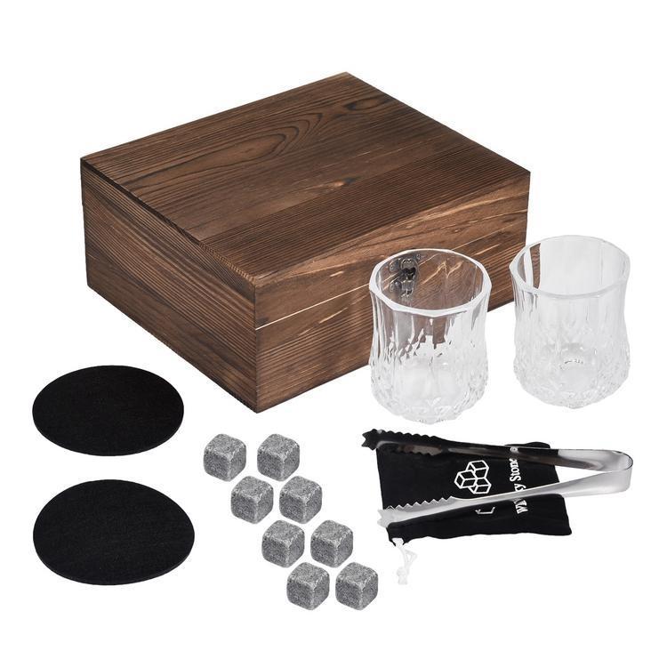 Камені для віскі подарунковий дерев'яний набір з келихами. Кубики для охолодження віскі